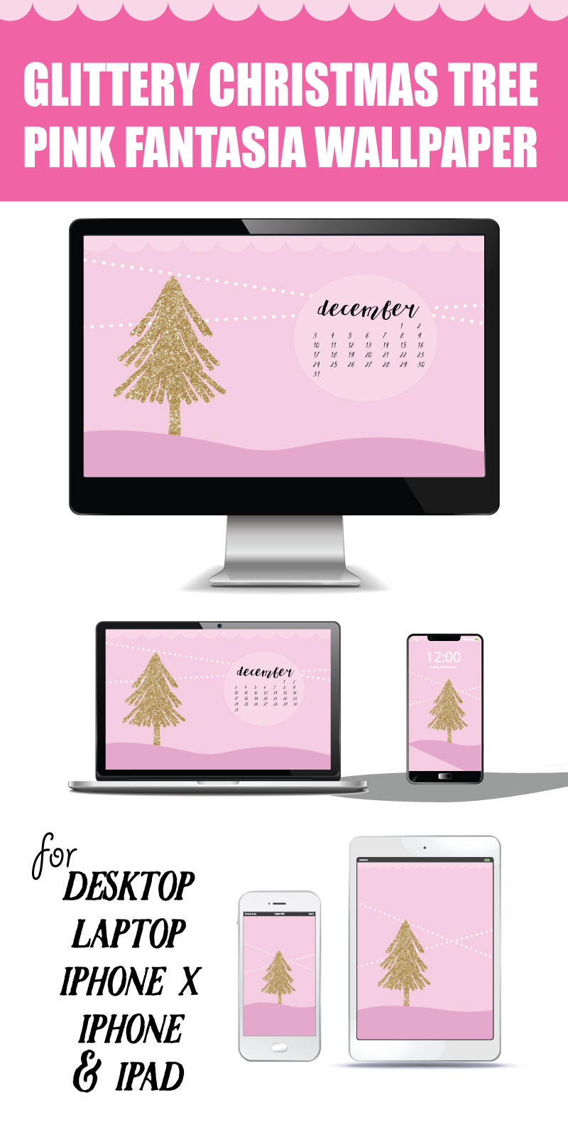 Deck out your Devices with this Free Glittery Tree Pink Fantasia Wallpaper! For Desktop, laptop, Ipad, Iphone X, Iphone and apple watch #christmas #digitalwallpaper #dressyourtech #imac #ipad #iphone #iphonex