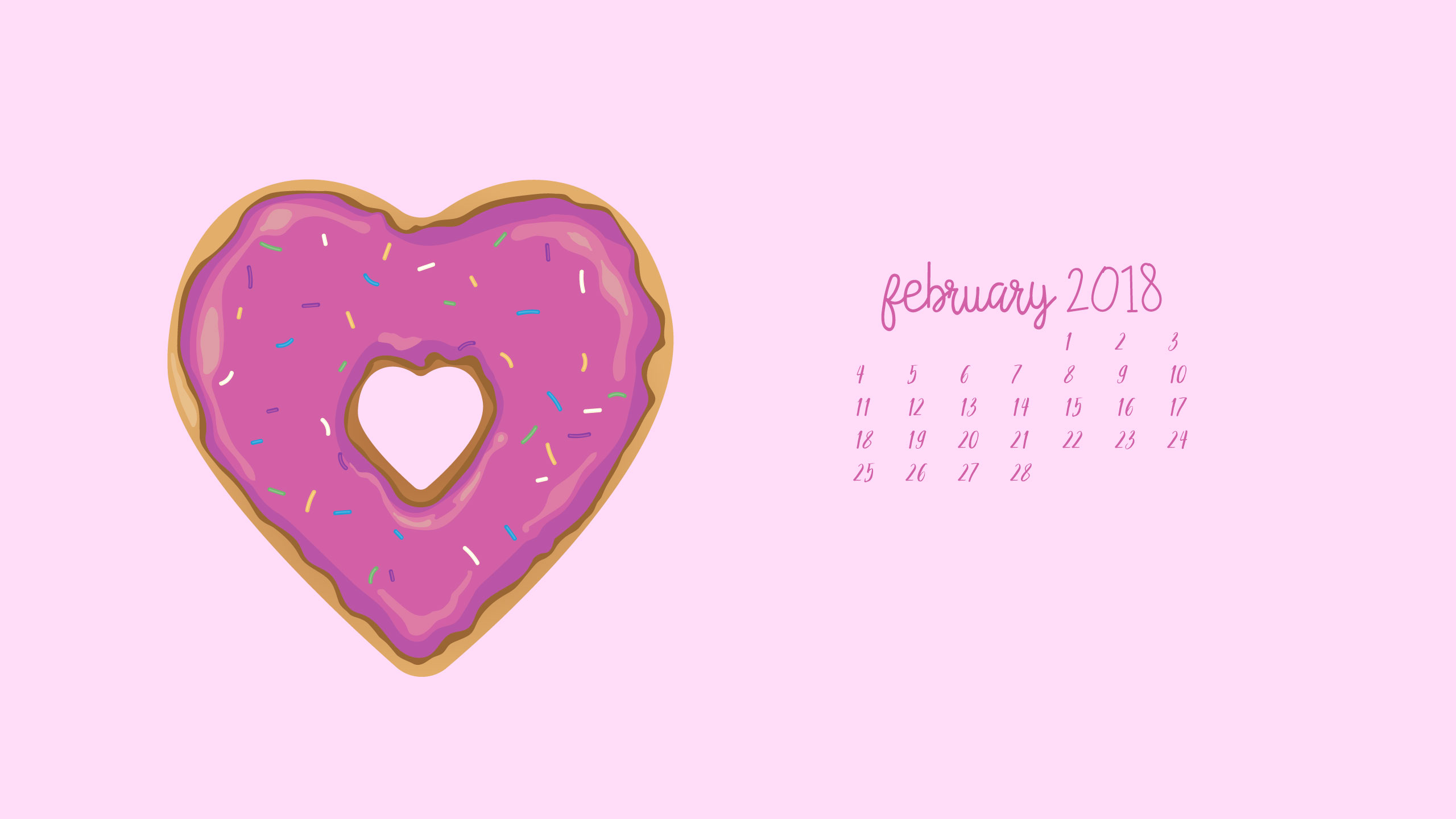 Heart Shaped Doughnut Digital Wallpaper: Grab this fun digital wallpaper and celebrate love in style!