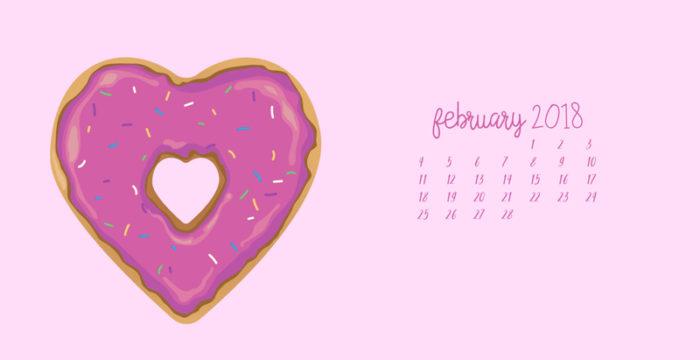 February Heart Shaped Doughnut Digital Wallpapers