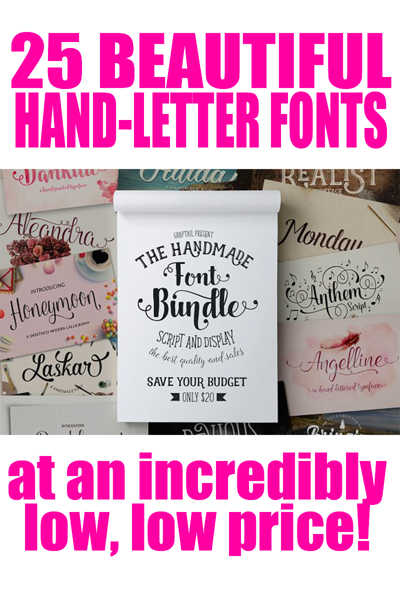 25 Beautiful Hand-Letter Fonts at an incredibly low, low price! This bundle is a great deal and full of amazing fonts!