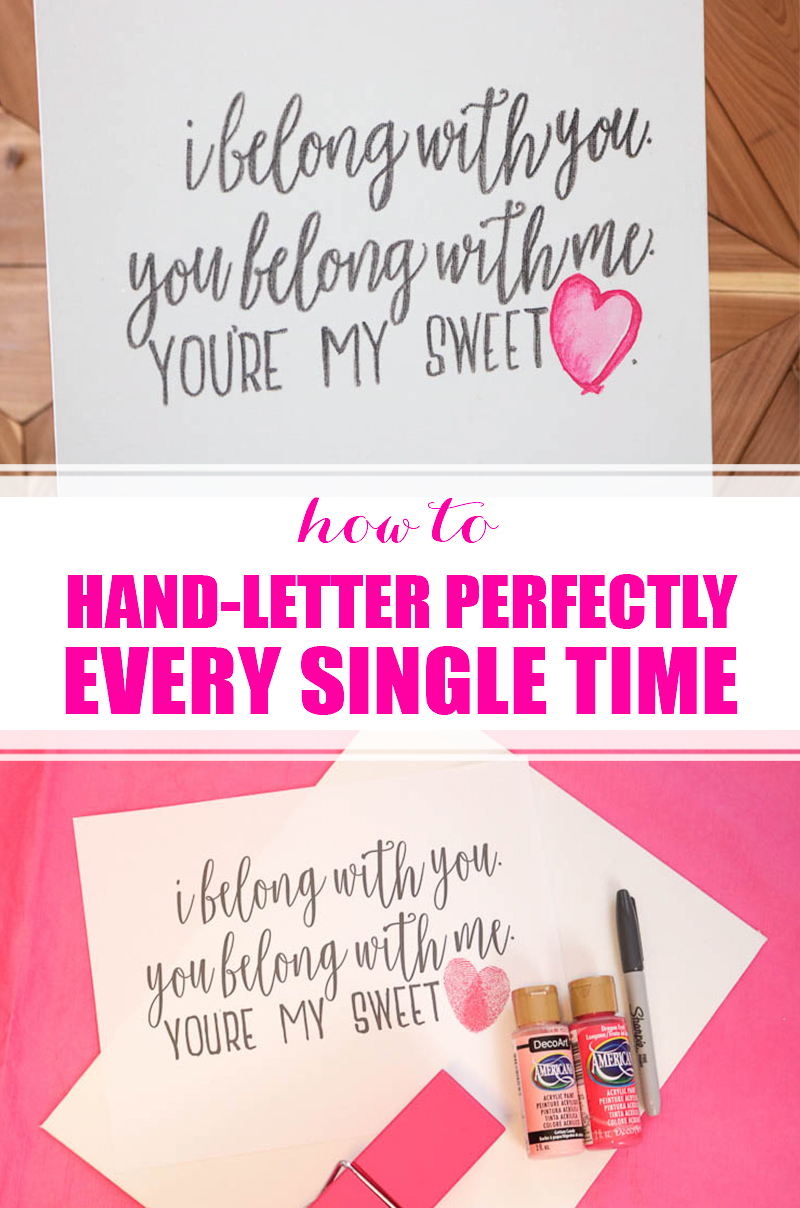 How to Hand Letter Perfectly Every Time: Jealous of all the pretty hand lettered DIY projects out there? Just use this technique to get beautiful handlettering all on your own! #handlettering #handlettered #diywallart #sweetheart #valentinesday #valentine