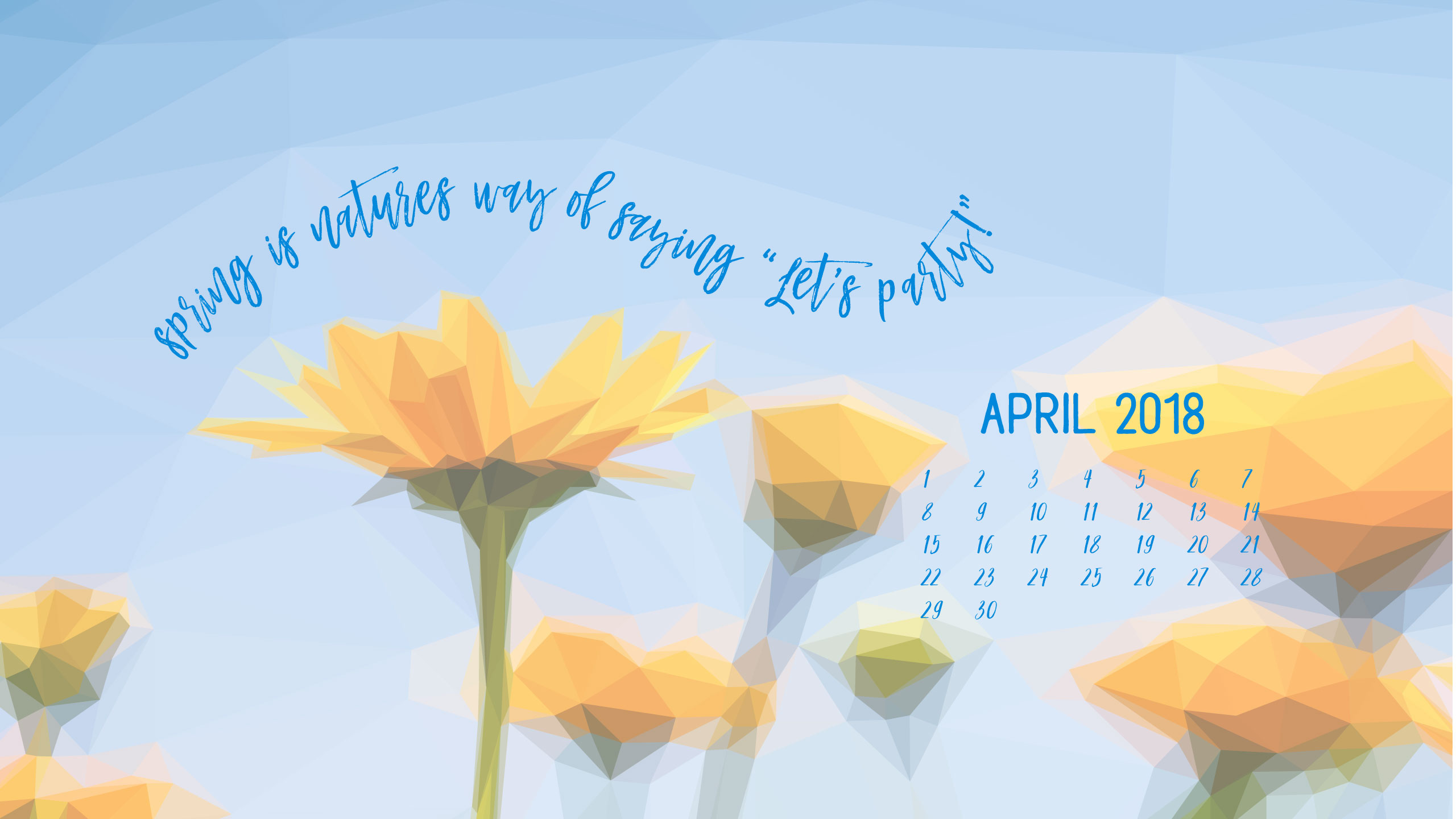 Geometric Daffodil Digital Wallpapers - Desktop with calendar