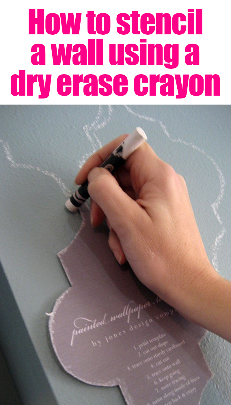 How to stencil a wall using a dry erase crayon! This stenciled crayon wall is so pretty and you can wash it off!