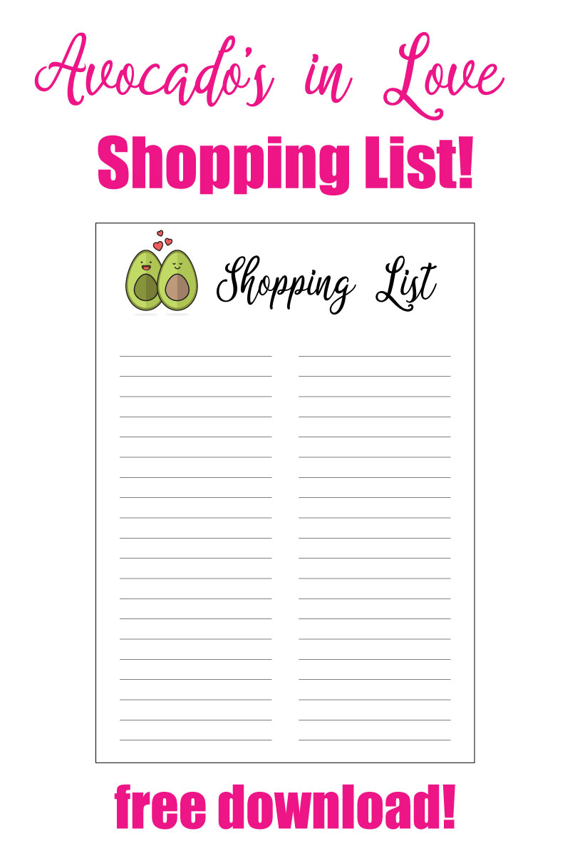 Need a super cute shopping list to make your grocery shopping easier? Grab this Avocados in Love shopping list today! #shoppinglist #freedownload #avocado #printable #organization