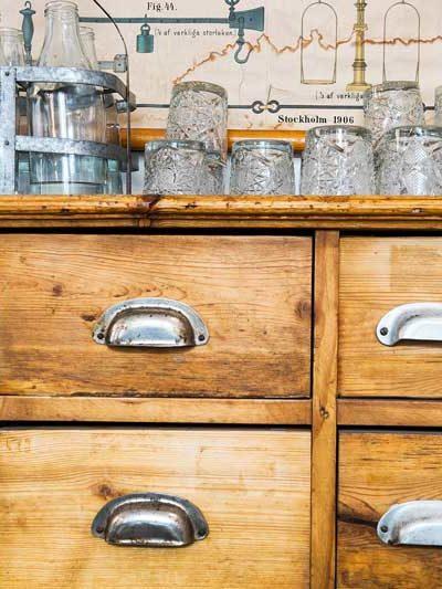 vintage sideboard with glassware