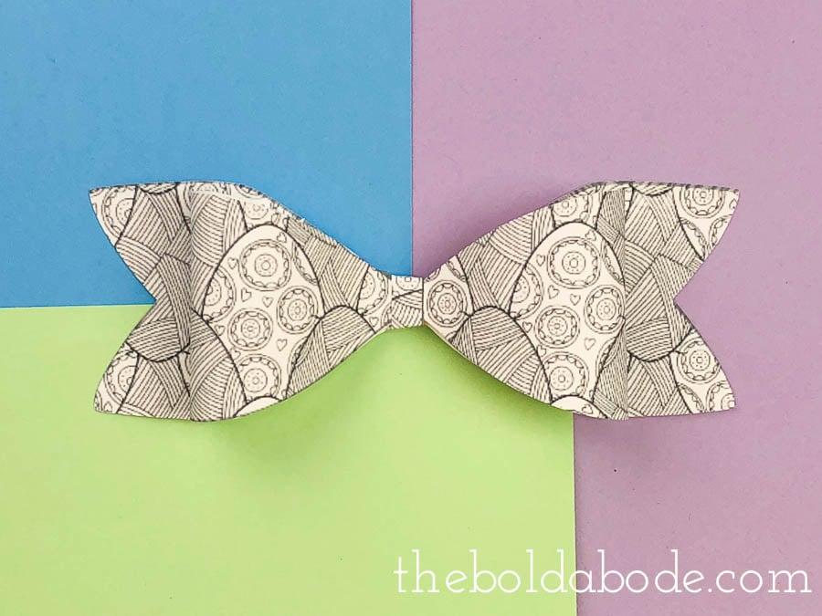 black and white egg paper bow