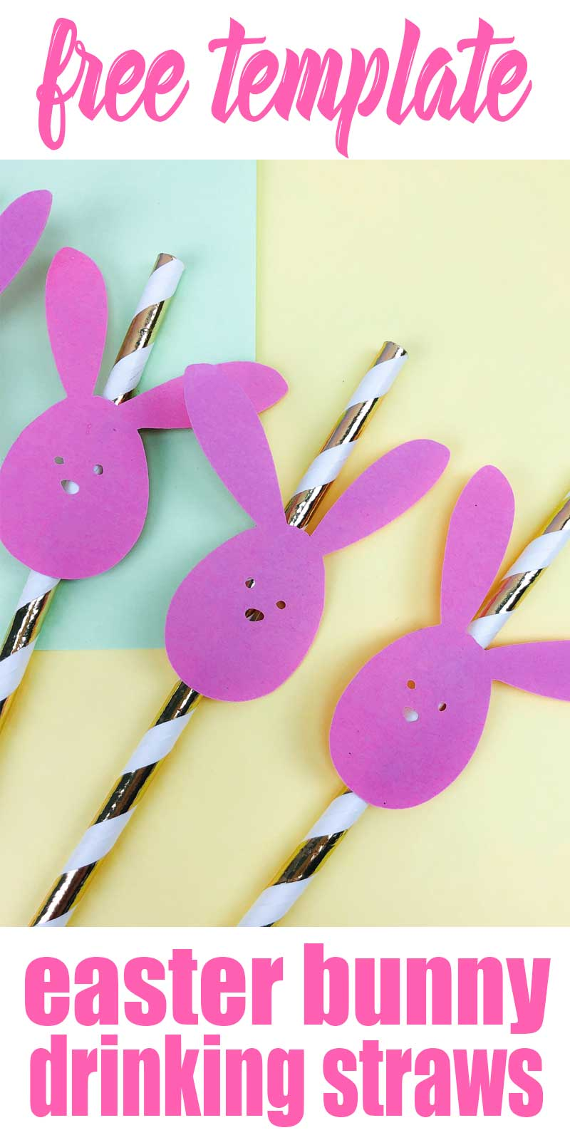 easter bunny straws - gold and white straws with pink bunnies