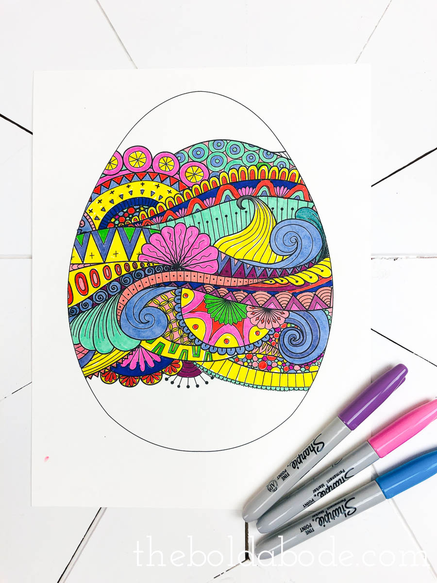 colored easter egg coloring page with sharpies