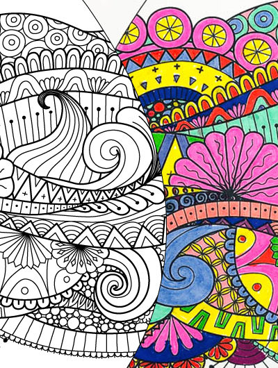 easter egg coloring pages, one black and white, one finished coloring
