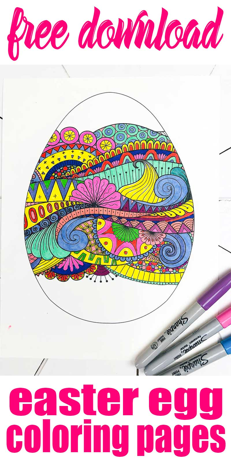 easter egg coloring page finished design