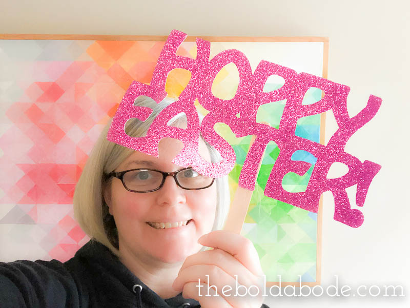 easter photo props sign with Gwen