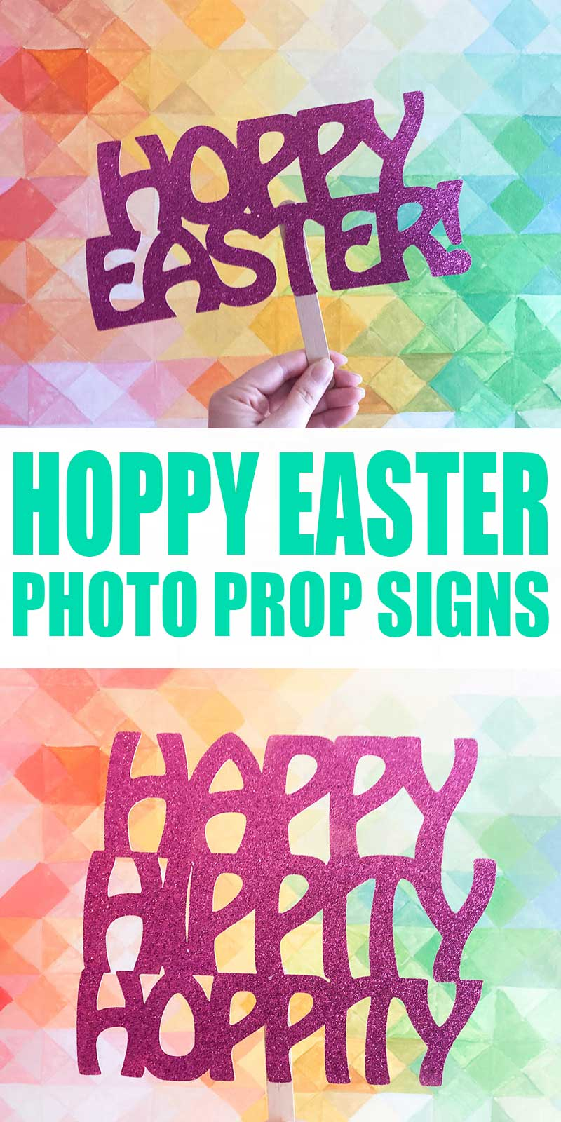hoppy easter glitter photo prop sign