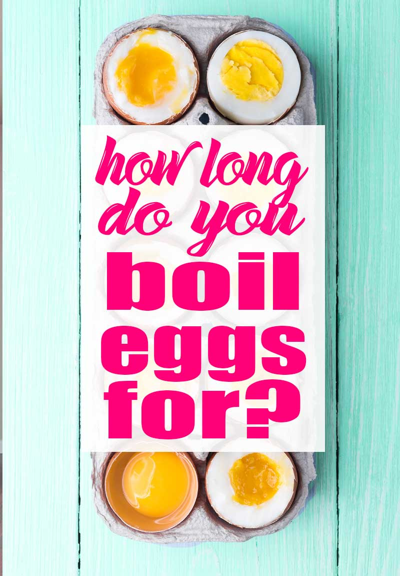 a dozen boiled eggs with graphic text overly which says, how long do i boil eggs for?