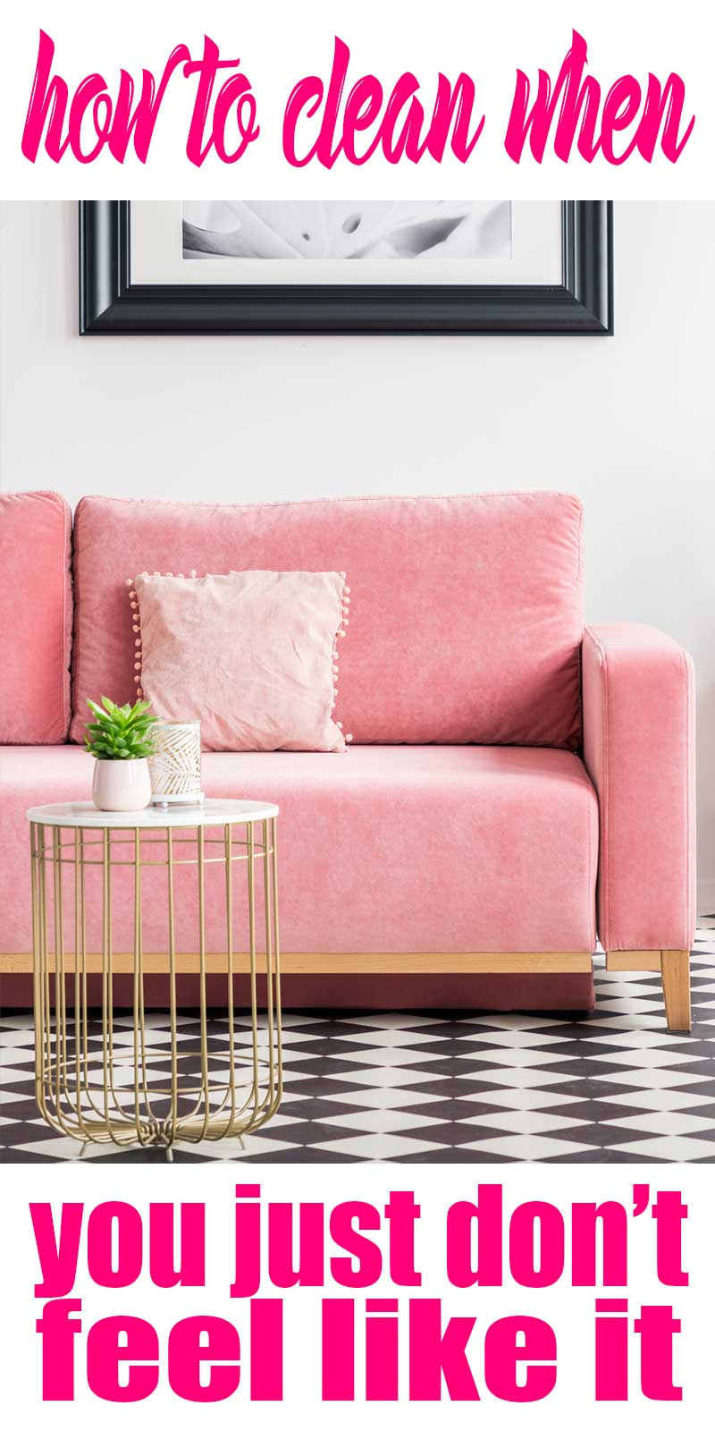 pink couch with black and white rug