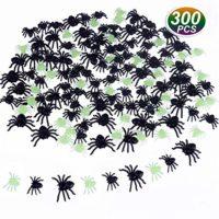 TUPARKA 300pcs Realistic Spider Plastic Mini Spiders Halloween Party Prank Props Mixed Colors, Black/ Luminous