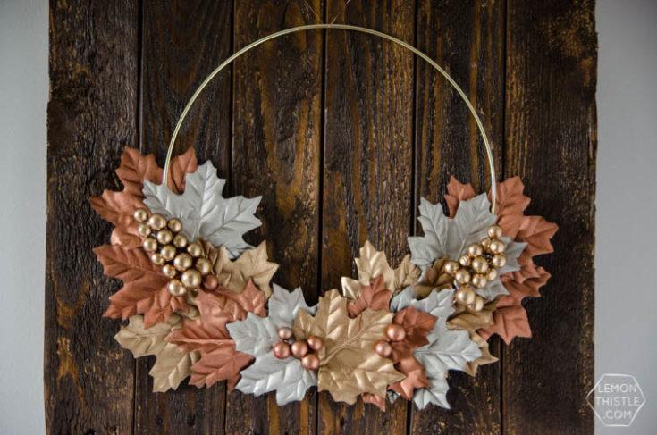 DIY Simple Metallic Autumn Wreath - Lemon Thistle