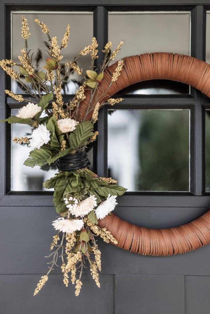Modern Leather Fall Wreath | DIY Tutorial