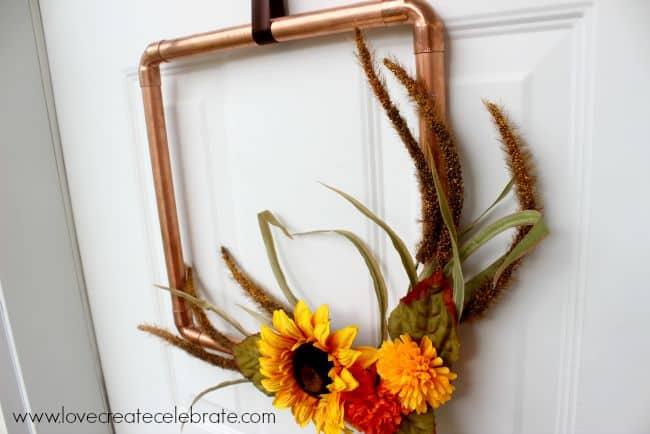 DIY Copper Pipe Wreath for Fall