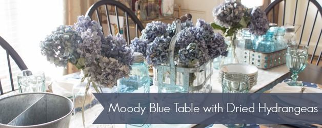 Moody Blue Fall Table with Dried Hydrangeas