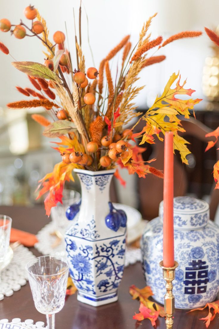 Orange and Blue Fall Tablescape