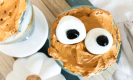 pumpkin spice mini trifles with marshmallows for eyes