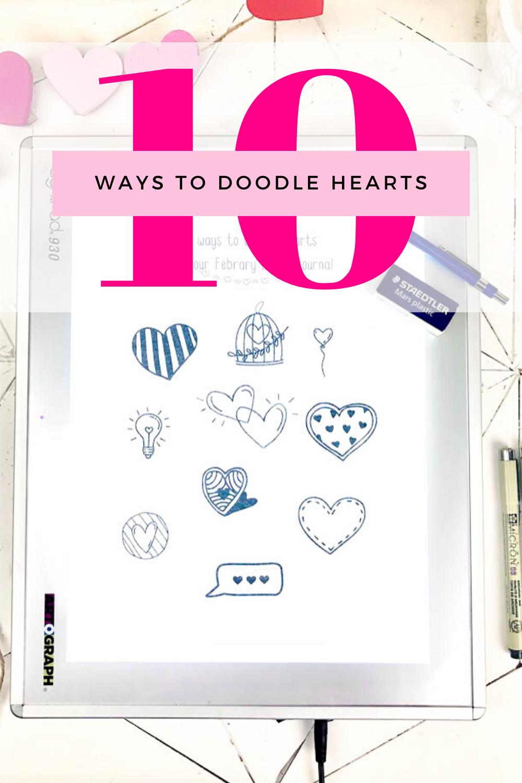 10 cute hear doodles with pinterest text overlay