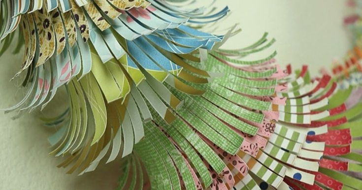 How to Make a Fringed Paper Scrap Wreath