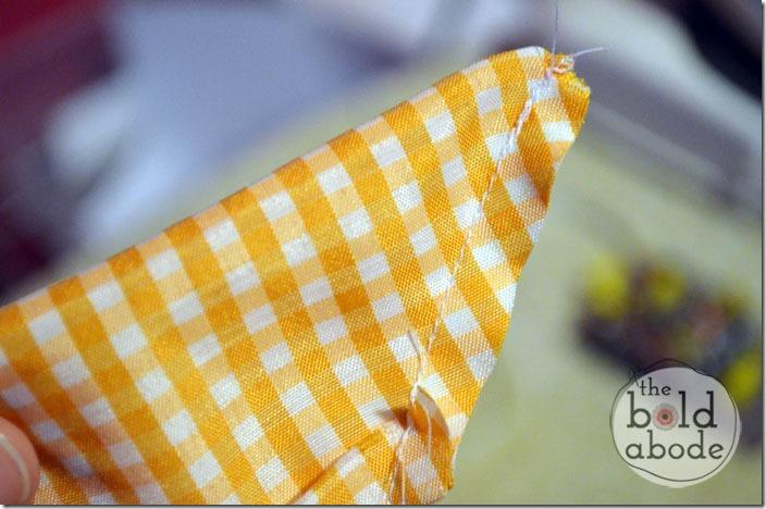 Sew a seam on the diagonal