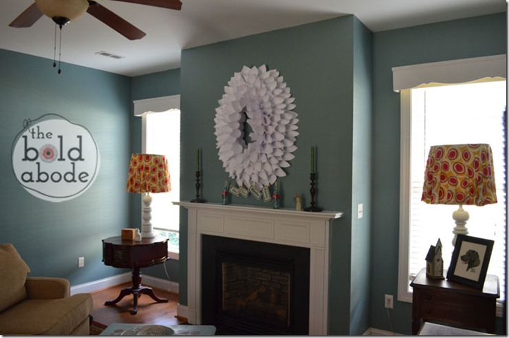 Copy Paper Wreath above the Mantle