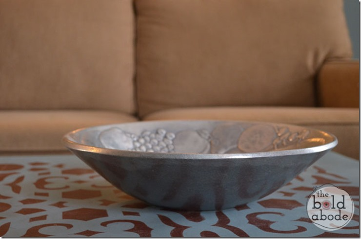 Silver Bowl on Stenciled Coffee Table