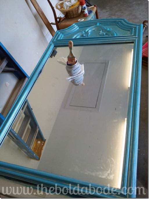 Teal Mirror with Silver Metallic Glaze