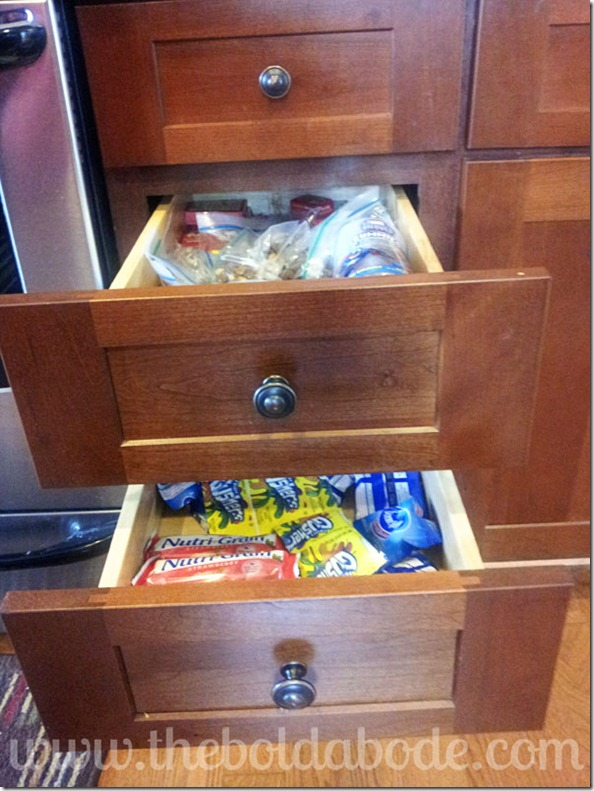 Make two separate snack drawers