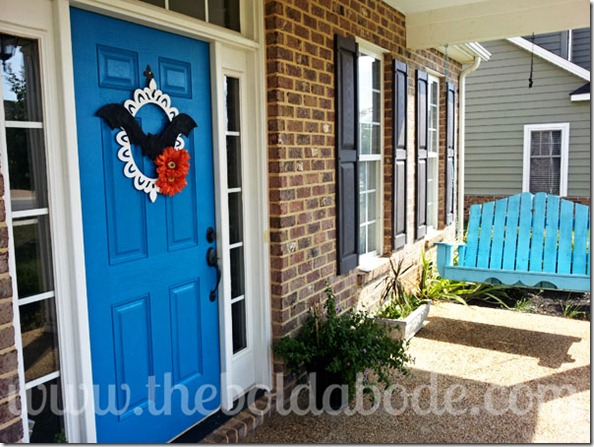 Front Porch and Bat Wreath